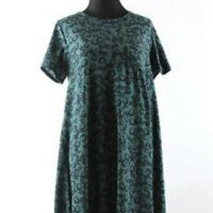 Lularoe-Carly-Green-Black-Floral-Print-Dress